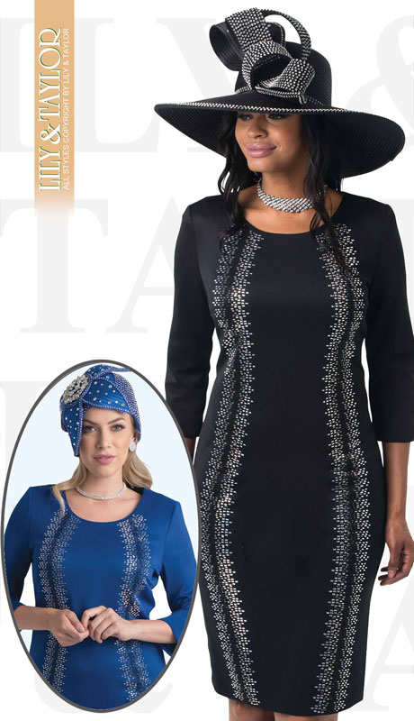Lily And Taylor 4347-BL ( 1pc Womans Ponte Knit Church Dress With Rhinestone Pattern )