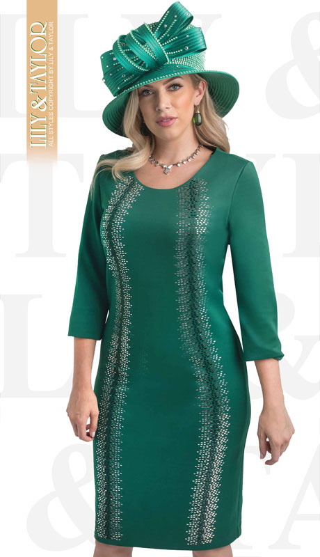 Lily And Taylor 4347-EM ( 1pc Womans Ponte Knit Church Dress With Rhinestone Pattern )