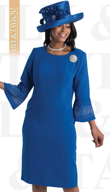 Lily And Taylor 4092-RO ( 1pc Crepe Ladies Church Dress With Flared Sleeves And Brooch )