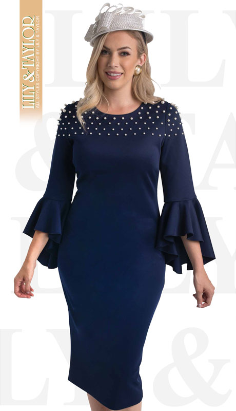 Lily And Taylor 4460-NA ( 1pc Knit First Lady Dress With Ruffled Sleeves And Pearl Accents )