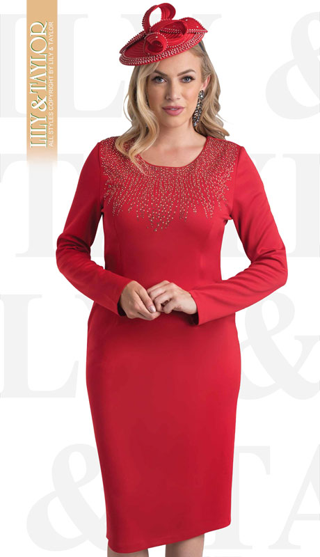 Lily And Taylor 4480-RE ( 1pc Knit First Lady Dress With Jeweled Accents )