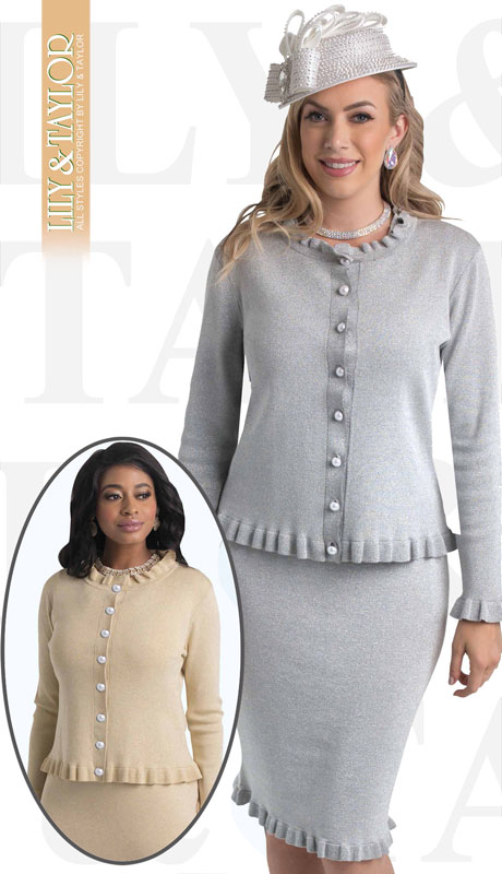 Lily And Taylor 659-SI-IH ( 2pc Knit Womans Church Suit With Ruffled Edges And Pearl Buttons )