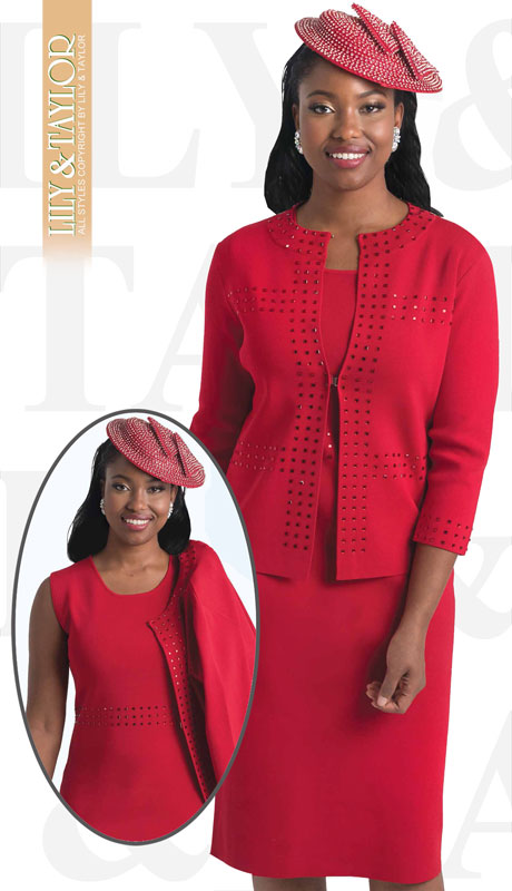 Lily And Taylor 661-RE ( 2pc First Ladies Knit Church Suit With Jeweled Accents )
