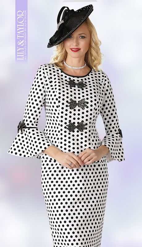 Lily & Taylor 4380-IB-IH ( 2pc Ladies Church Suit With Bell Sleeve And Front Bows )