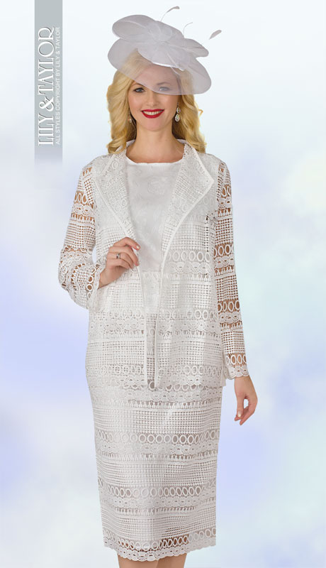 Lily And Taylor 4253-WH ( 3pc Womens Church Suit With Crinkle Lace Skirt )