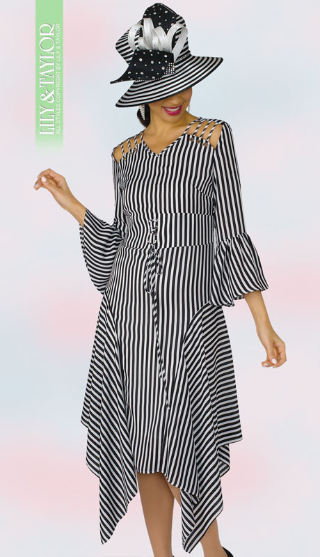 Lily And Taylor 4311-BM ( 1pc Striped Dress With Flared Sleeves And Asymmetrical Hem )