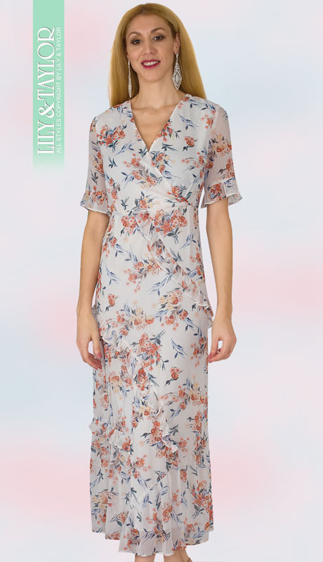 Lily And Taylor 4325-IM ( 1pc Chiffon Short Sleeve Sun Dress With Decorative Multi Print )