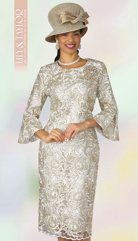 Lily And Taylor 4292-IG ( 1pc Womans Silky Lace Church Dress With Brocade Pattern And  Jeweled Brooch )