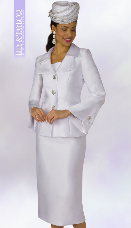 Lily And Taylor 4107-WH ( 2pc Silk Womans Church Suit With Jeweled Button Jacket And Wide Lapels )