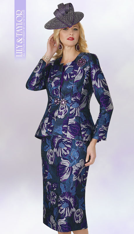 Lily And Taylor 4240-PM ( 3pc Novelty Ladies Sunday Suit With Brooch And Floral Print Design )