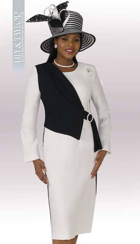 Lily And Taylor 4221-IB ( 1pc PeachSkin Womens Church Dress With Brooch And Asymmetric Design )