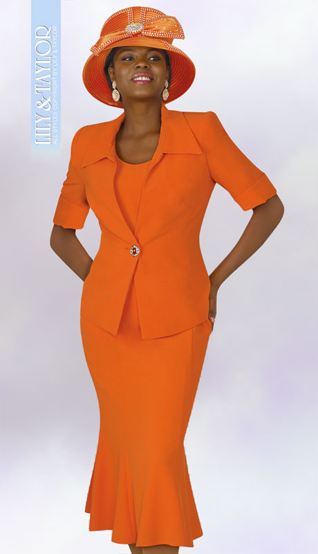 Lily And Taylor 3825-OR ( 3pc PeachSkin Ladies Church Suit With Short Sleeve Jacket )