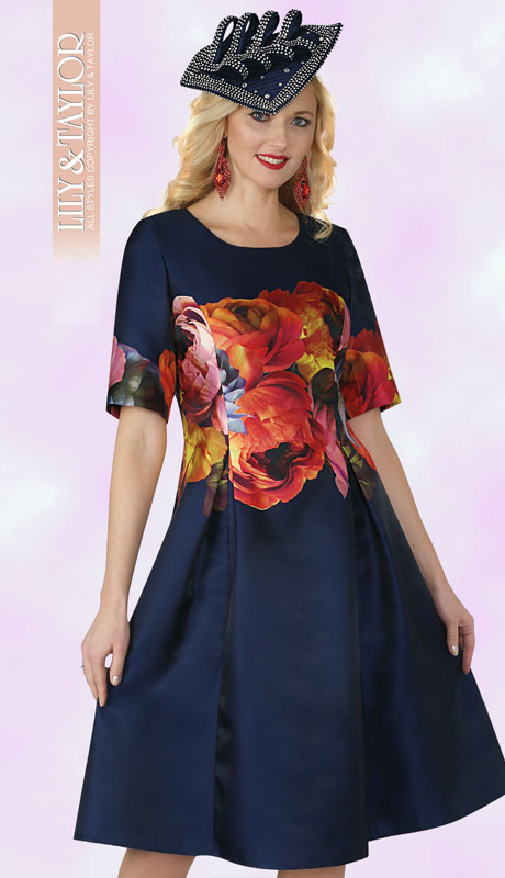 Lily And Taylor 4269-NM ( 1pc Novelty Dress With Short Sleeves And Multi Print )