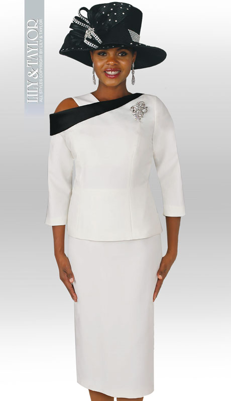 LIly & Taylor 4003-IB ( 2pc Exclusive Church Suit With Asymmetrical Neckline, Three Quarter Sleeves And Rhinestone Brooch )