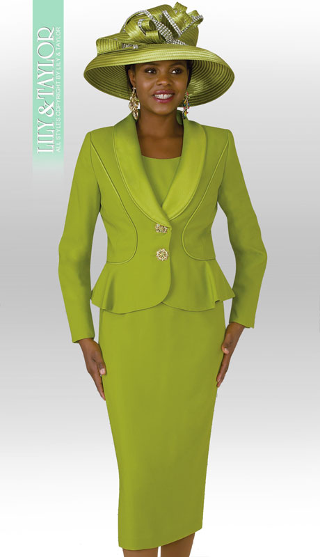 Lily And Taylor 4030-AG ( 3pc PeachSkin Womens Church Suit With Flared Jacket )