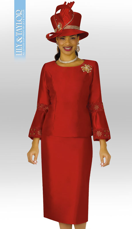 Lily And Taylor 4187-RE ( 2pc Silky Twill Womens Church Suit With Flared Sleeves And Jeweled Brooch )