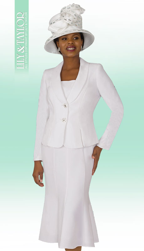 Lily & Taylor 2834-WH-IH ( 2pc PeachSkin Ladies Suit For Sunday With Flared Skirt )