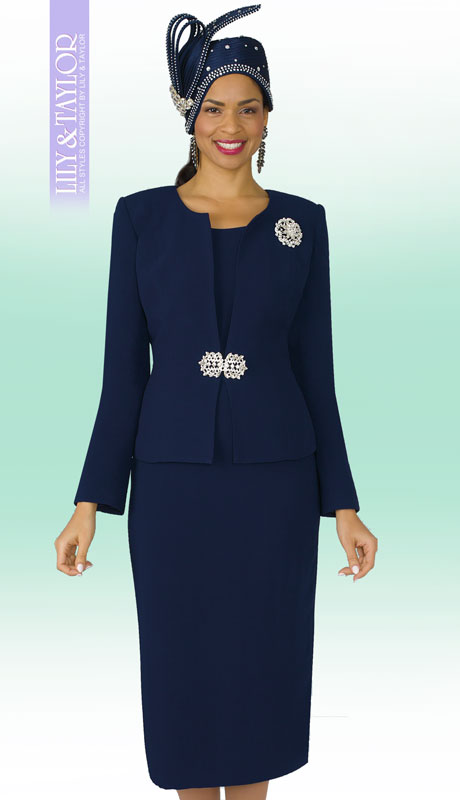 Lily And Taylor 3052-NA-IH ( 3pc PeachSkin Ladies Church Suit With Rhinestone Clasp And Brooch )