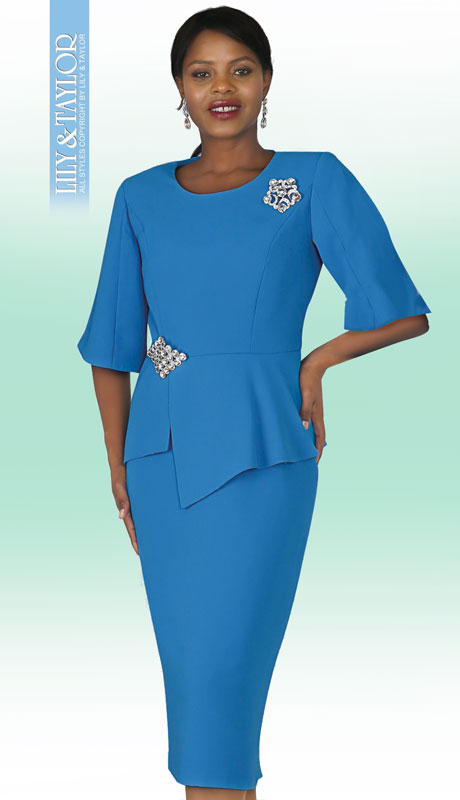 Lily And Taylor 4291-TU ( 2pc PeachSkin Ladies Church Suit With Rhinestone Clasp And Brooch )