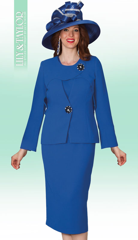 Lily And Taylor 4024-RO ( 3pc PeachSkin First Lady Church Suit With Brooch )