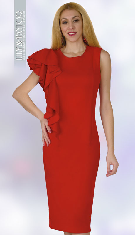 Lily And Taylor 4156-RE ( 1pc Ponte Knit Womens Church Dress With Shoulder Ruffle )