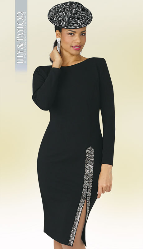 Lily And Taylor 4392-BL ( 1pc Ponte Knit First Lady Dress With Rhinestones )