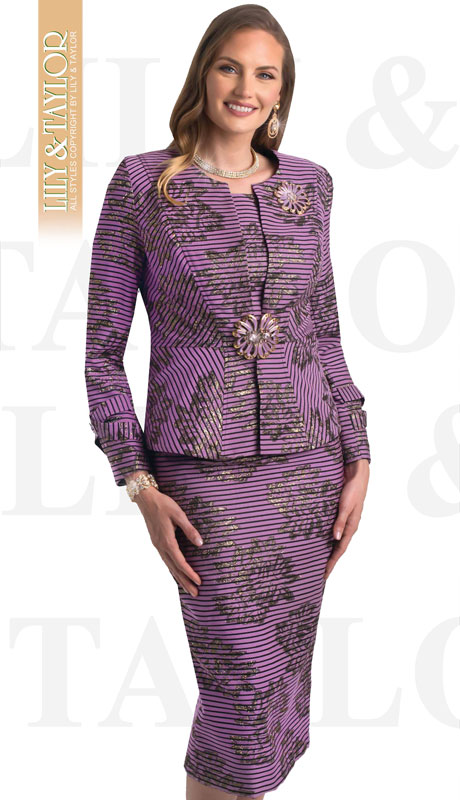 Lily And Taylor 4400-RO-IH ( 3pc Novelty Striped First Ladies Suit With Clasp and FLoral Brooch )