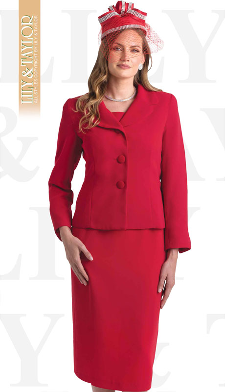 Lily And Taylor 4063-RE ( 2pc PeachSkin Ladies Sunday Suit With Notch Lapels )