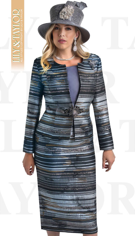 Lily And Taylor 4401-GR ( 3pc Novelty Striped Patterned Church Suit With Clasp And Large Brooch )