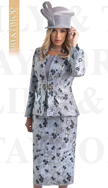 Lily And Taylor 4388-SI ( 3pc Novelty Floral Patterned Church Suit With Jeweled Clasp )