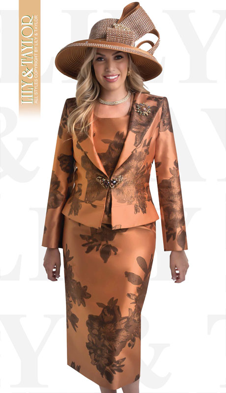 Lily And Taylor 4396-MO ( 3pc Silk Suit For Sunday With Jeweled Brooch And Clasp )
