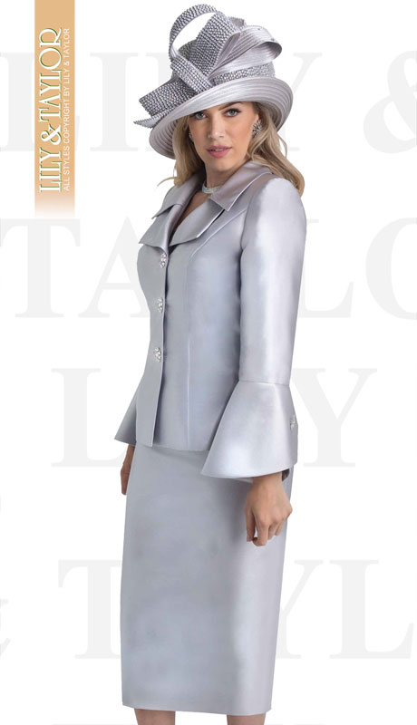 Lily And Taylor 4107-SI ( 2pc Silk Womans Church Suit With Jeweled Button Jacket And Wide Lapels )