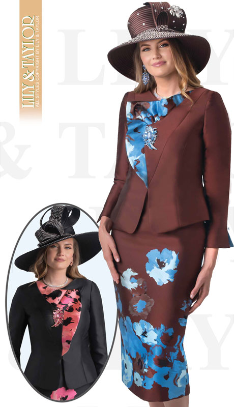 Lily And Taylor 4395-BR ( 3pc Silk Ladies Church Suit With Jeweled Brooch )