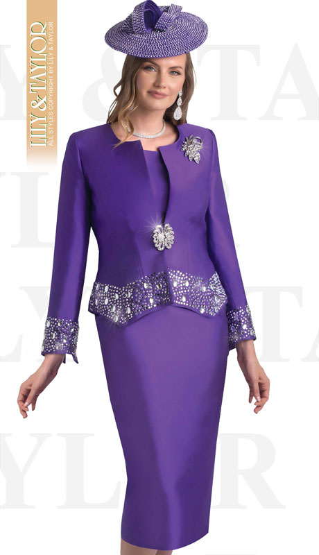 Lily And Taylor 4498-PU ( 3pc Silk Ladies Church Suit With Rhinestone Trim And Brooch )
