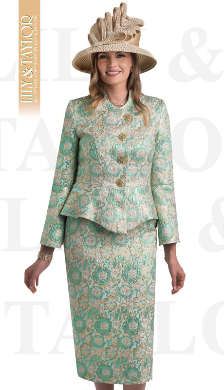 Lily And Taylor 4441-GR ( 2pc Novelty Floral Brocade Church Suit With Peplum Jacket And Offset Buttons )
