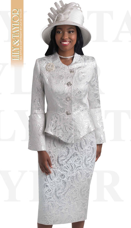 Lily And Taylor 4441-SI ( 2pc Novelty Floral Brocade Church Suit With Peplum Jacket And Offset Buttons )