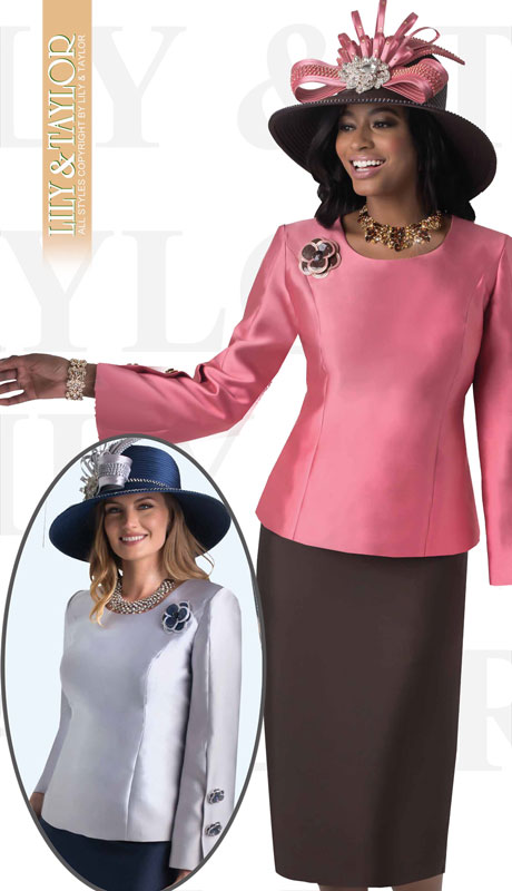 Lily And Taylor 4416-MA ( 2pc Silk Ladies Church Suit With Button Cuffs And Brooch )