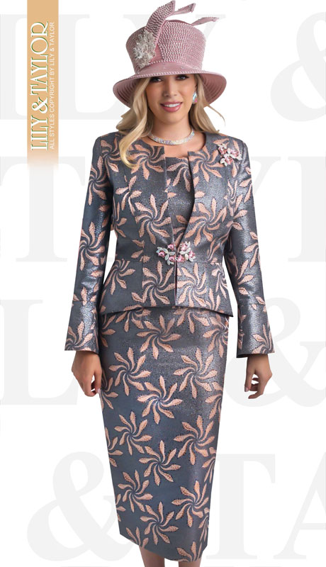 Lily And Taylor 4408-GR ( 3pc Novelty Floral Patterned Church Suit With Jeweled Brooch And Clasp )