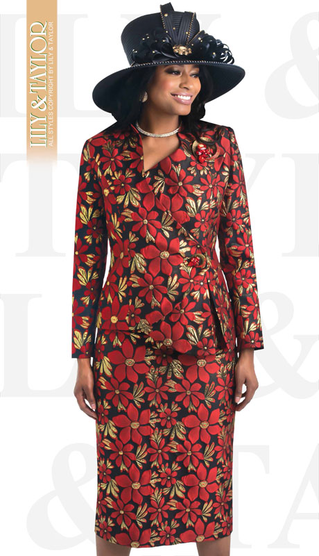 Lily And Taylor 4432-RE ( 2pc Novelty Floral Patterned Church Suit With Collarless Jack And Gem Brooch )
