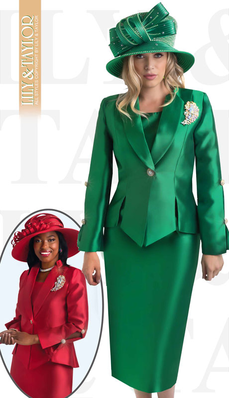 Lily And Taylor 4343-EM-IH ( 3pc Silk Ladies Church Suit With Jacket, Jeweled Button And Brooch )
