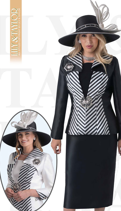Lily And Taylor 4386-BL ( 3pc Silk Church Suit With Striped Jacket And Jeweled Brooch )