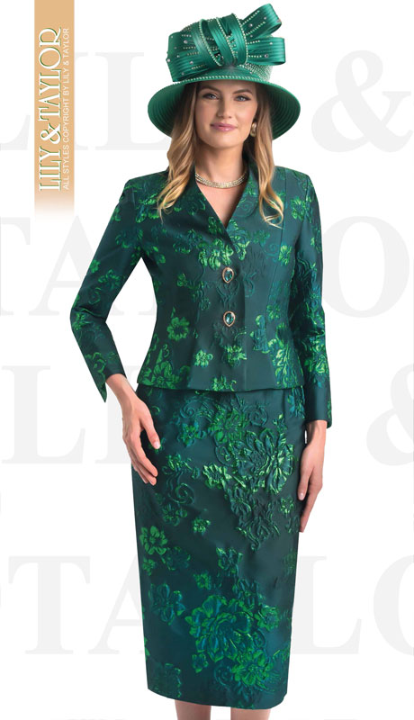 Lily And Taylor 4475-GR ( 2pc Novelty Floral Brocade Church Suit With Gem Buttons And Jacket )