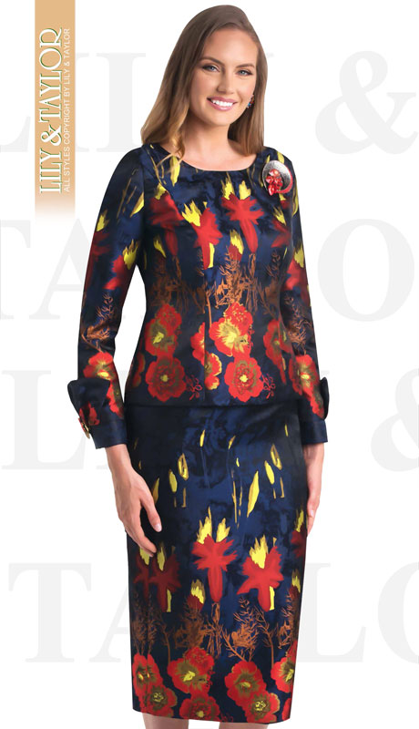 Lily And Taylor 4407-NA ( 2pc Novelty Floral Patterned Church Suit With Large Jeweled Brooch )