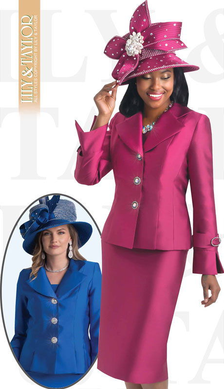 Lily And Taylor 4096-WI ( 2pc Silk Womans Church Suit With Jacket And Jeweled Buttons )