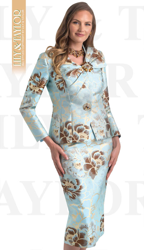 Lily And Taylor 4446-MI ( 2pc Brocade Novelty Church Suit With Bow Neckline And Jeweled Brooch )
