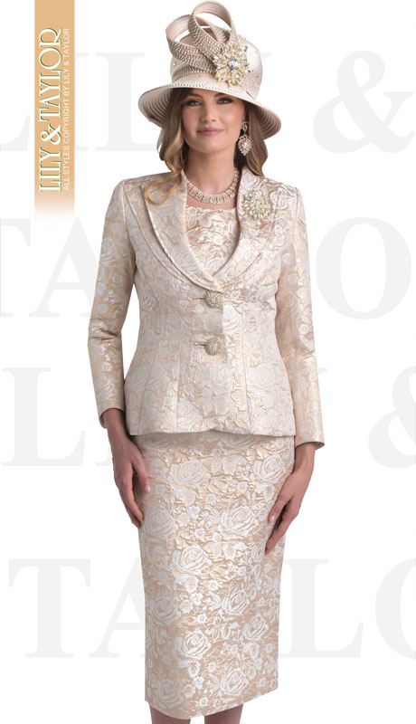 Lily And Taylor 4427-SI ( 3pc Novelty Floral Brocade Church Suit With Shawl Collar And Jeweled Brooch )