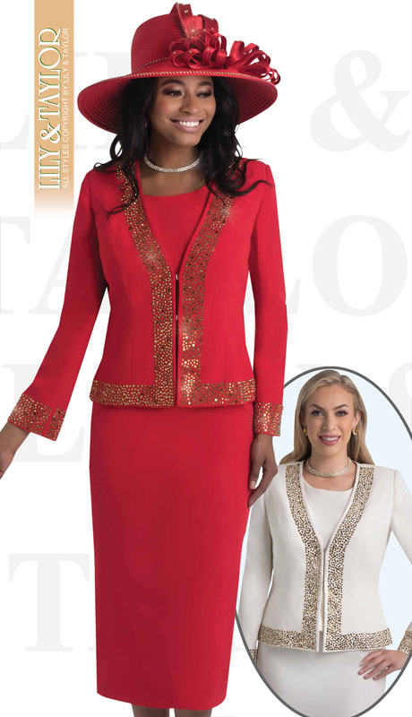 Lily & Taylor 4434-RE-IH ( 3pc French Crepe Womans Skirt Suit With Jeweled Trim )