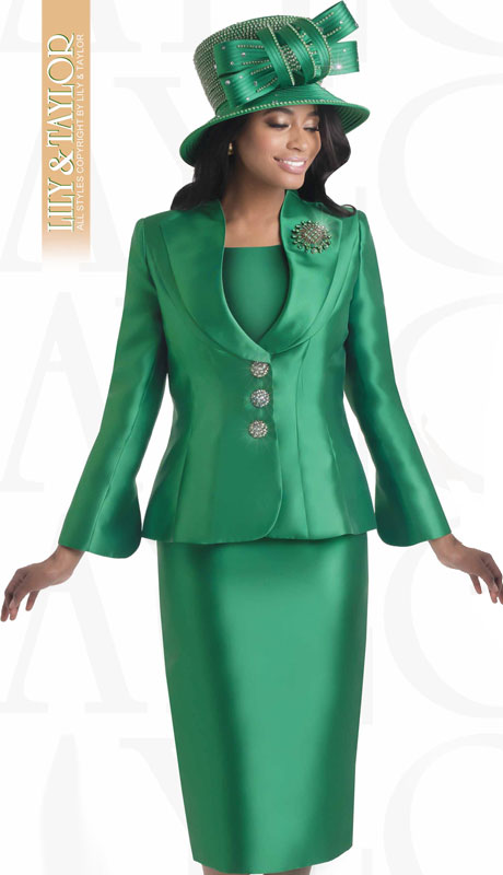 Lily And Taylor 4417-EM ( 3pc Silk Church Suit With Jeweled Buttons And Brooch )