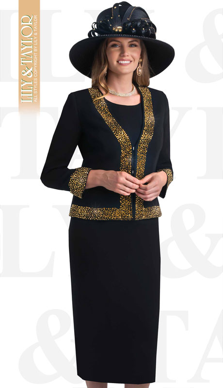 Lily & Taylor 4434-BL-IH ( 3pc French Crepe Womans Skirt Suit With Jeweled Trim )