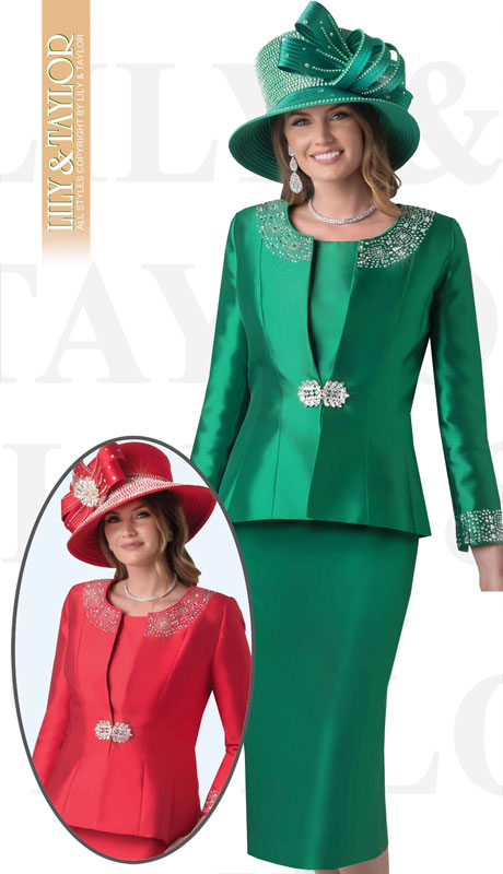 Lily And Taylor 3800-EM-IH  ( 3pc Silk Ladies Sunday Suit With Rhinestone Embellished Trims )
